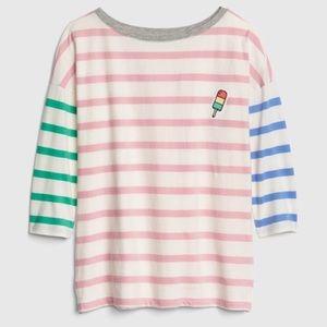 NWT GAP Striped Shirt with Ices Appliqué XL